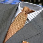 Traditional grey but a tie with a dash of colour